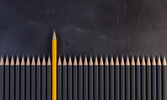 Pencils in a row
